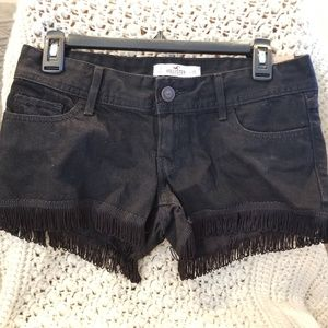 HOLLISTER NWT Black Denim Shorts with Fringe